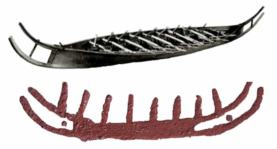 Το αρχαιότερο πλοίο των ακτών των Βίκινγκς, το Hjortspring, έχει τη μορφή των πετρόγλυφων μινωικών καραβιών