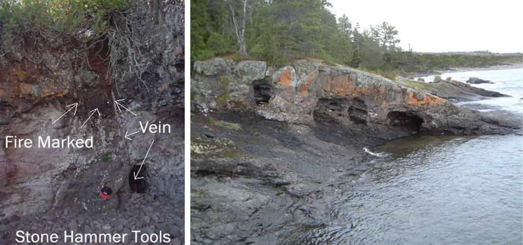 Μία από τις παράλιες φλέβες χαλκού στη λίμνη Superior των ΗΠΑ, με τα πανάρχαια ίχνη εξόρυξης