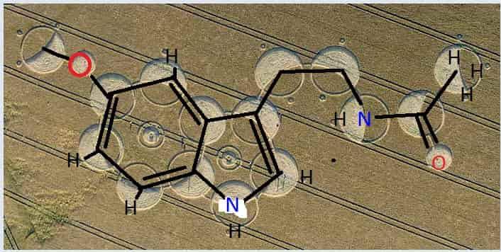 αγρογλυφικό, αναπαριστά την βασική χημική σύνθεση της μελατονίνης