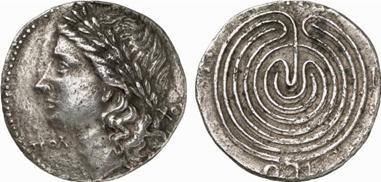 Νόμισμα με Κρητικό λαβύρινθο