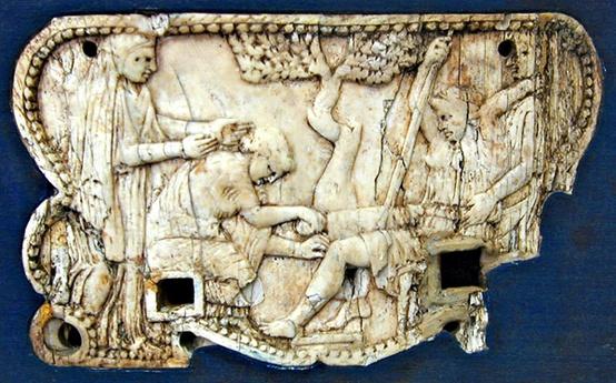 Ελεφάντινο πλακίδιο στην Πομπηία που εικονίζει την γέννηση του Αχιλλέα ή του Μελέαγρου. 1ος αιώνας μ.Χ
