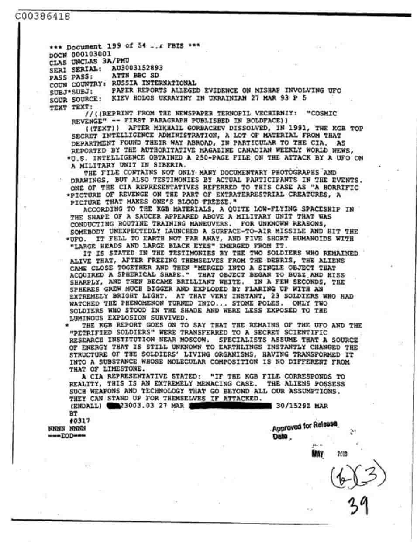 Έγγραφο CIA: Ρώσοι ΚΑΤΕΡΡΙΨΑΝ UFO αλλά ΑΥΤΟ ΠΟΥ ΣΥΝΕΒΗ ΜΕΤΑ ξεπερνάει την Φαντασία !!!