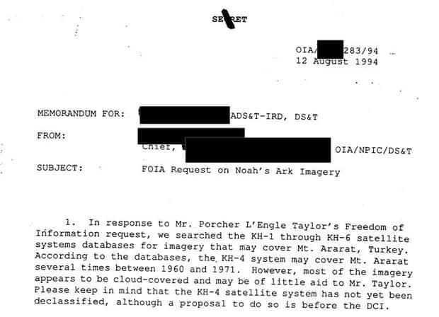 Την Κιβωτό του Νώε Εντόπισαν Κατασκοπευτικοί Δορυφόροι της CIA