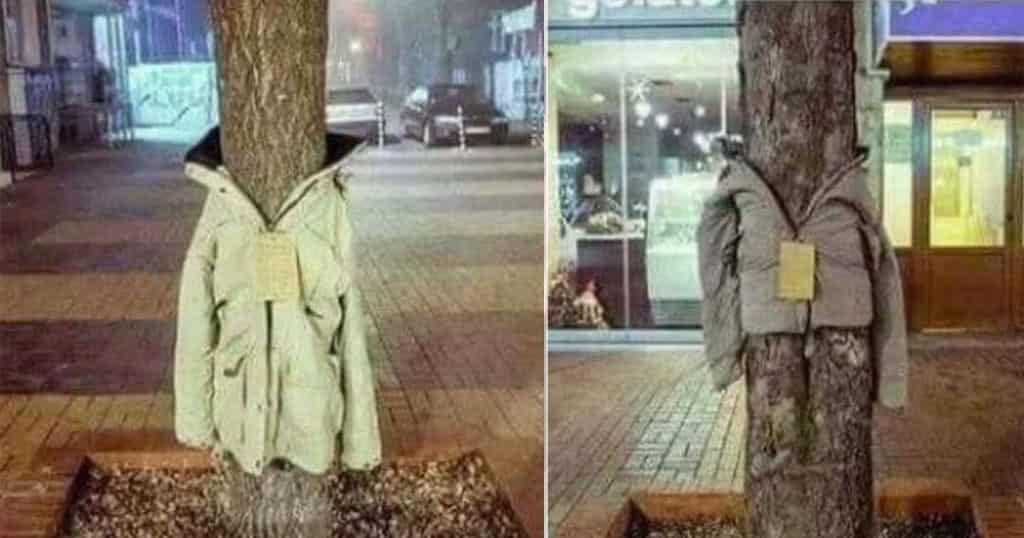 Στη Λάρισα Ντύνουν τα Δέντρα με Μπουφάν για Έναν Μοναδικά Υπέροχο Σκοπό