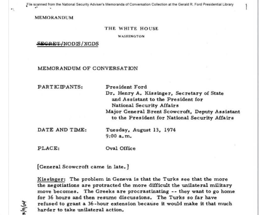 Ντοκουμέντο: Ο Κίσινγκερ είχε Ζητήσει από τον πρόεδρο Φόρντ να Αφήσει τους Τούρκους να Εισβάλλουν στην Κύπρο